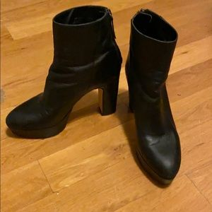 Zara black platform heeled leather ankle boots 39